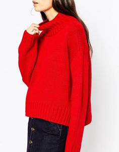 Image 3 of ASOS Boxy Sweater with Chunky High Neck
