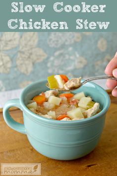 This Paleo slow cooker chicken stew will have your family raving and only takes about 15 minutes to throw together! Full of juicy chicken, yummy vegetables, and white potatoes, this one is sure to please your whole family. Plus, it's so good for you and traditional comfort food. Come home to a warm, delicious meal at the end of a chilly day with only a little prep time in the morning!