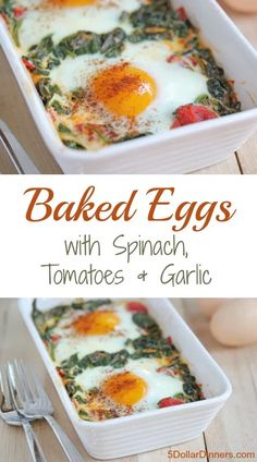 Baked Eggs with Spinach, Tomatoes and Garlic Super easy recipe for eggs baked on a bed of spinach, tomatoes and garlic. Fancy and delicious! Vegetarian Recipes, Cooking Recipes, Healthy Recipes, Easy Egg Recipes, Baked Egg Recipes For Dinner, Recipes With Eggs, Vegetarian Cooking, Easy Cooking, Cooking Tips