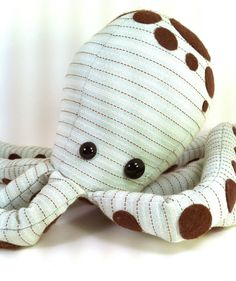 light blue and brown striped octopus by LMPderailed on Etsy, $40.00