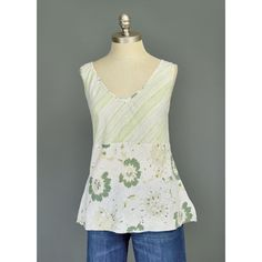 Floral Blouse Boho Top 90s Tank Hemp Cotton Green & White Striped Top Deep V Neck Empire Waist Sleeveless Summer Blouse 1990s Floral Top (L)  #vintage #etsy #clothes #clothing #summer #fashion #shirt #shirts #tanks #tops #blouses #womens #style #bohemian #boho