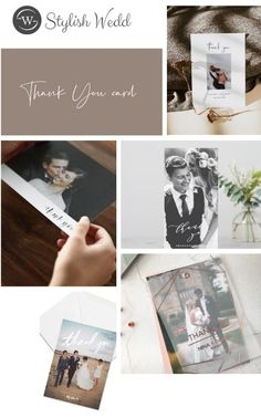 chic thank you card with photo collage