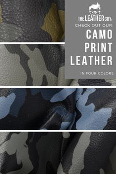 Get our Camo print leather in 4 different colors. Available in pre-cut sheets, large project pieces, and full sides. What will you make with them?  #camo #diyleather #leatherjewelry #leatherbags Leather Gifts, Leather Jewelry, Leather Craft, Diy Leather Projects, Mermaid Under The Sea, Leather Sheets, Craft Night, Leather Pieces, Camo Print