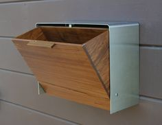 Modern Mailbox Large, Teak And Stainless Steel Mailbox, Wall Mounted Mailbox