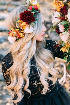 Long hair idea. Loose curls paired with flower crown.