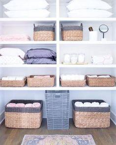 Linen Closet Organization, Closet Storage, Bathroom Storage, Organization Ideas, Storage Ideas, Organizing Bathroom Closet, Organized Bathroom, Bathroom Cabinets, Bathroom Interior