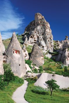 Rock houses in Cappadocia, Turkey.