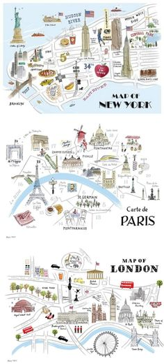 City Map Illustration, Map of London, Map of New York, Map Of Paris - Schule - Viagem Europa Paris Map, London Map, Paris City, Travel Maps, Travel Posters, Travel Illustration, New York Illustration, Map Design, Travel Design