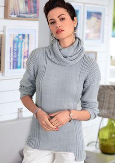 Джемпер и снуд в резинку Итальянская мода ассоциируется с классической элегантностью. И этому полностью соотвествует светло-серый приталенный джемпер с длинным снудом в резинку. Журнал «Verena» № 4/2016