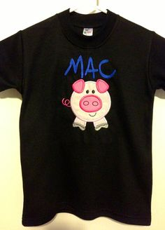 Personalized Pig Onesie Gown Baby Lap Tee by YouNameItEmbroideryG, $25.00