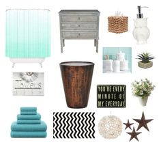 """Beachy bathroom"" by ladybuglivvy ❤ liked on Polyvore featuring interior, interiors, interior design, home, home decor, interior decorating, DESTIN, JCPenney Home, Ben de Lisi and Dot & Bo"