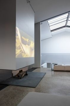Modern Interiors, open fireplace, movie projection, skylight