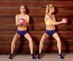wall sit with rotation. use a kettle ball or an 8 to 10 lb. dumbell. targets the core while toning the legs.