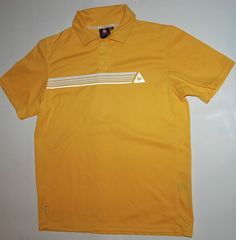 VINTAGE LE COQ SPORTIF MENS POLO SHIRT TOP YELLOW SHORT SLEEVE L XL
