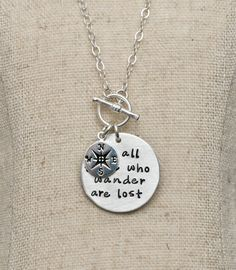 Not All Those Who Wander Are Lost Sterling Silver Necklace Compass