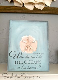 Handpainted Canvas with Scripture Isaiah 40:12 beach decor