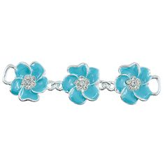 Blue Enamel Flower Connector With Crystals, 20x80mm