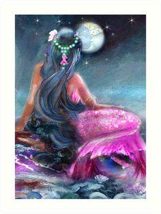 'Surviving is NOT a Fantasy' Kunstdruck von Robin Pushe'e Mermaid Artwork, Mermaid Drawings, Mermaid Paintings, Mermaid Cove, Mermaid Fairy, Illustration Art Dessin, Illustrations, Fantasy Mermaids, Mermaids And Mermen