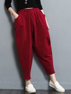 Ladies Linen Cotton Harem Pants Loose Casual Long Vintage Trousers Baggy Red New Fashion Pants, Look Fashion, Fashion Outfits, Latest Fashion, Fashion Trends, Trousers Women, Pants For Women, Clothes For Women, Salwar Pants