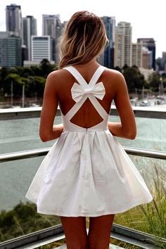 Back Bow White Cotton Dress
