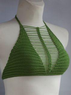 Bikini Vert, Haut Bikini, Bikini Tops, Bikini Crochet, Crochet Crop Top, Mode Crochet, Knit Crochet, Corset Sewing Pattern, Summer Skirts