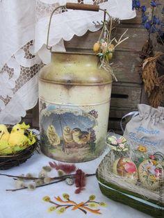 """Бидон """"Easter greetings"""" ПРОДАН - оливковый,бидон,бидончик,Пасха,винтаж"""