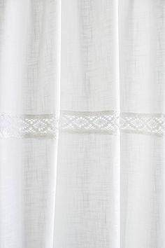 Julia offwhite Vorhangset mit Spitzenborte(2x120x250cm) Vorhänge Vorhang Gardinen Shabby Chic Vintage Landhaus Franske Leinenoptik: Amazon.de: Küche & Haushalt