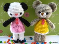 """""""Meet two little bear Amanda and Annie panda amigurumi . They are so cute and fun to be around .And they to go to tea party so much. Learn how to make this oh so adorable push toy and doll with very detail step by step photo tutorial and super easy to read pattern."""""""