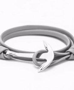 Bracelet ancre argent cuir gris