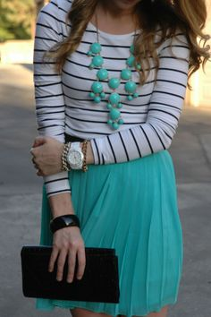 Striped white long sleeve with turquoise