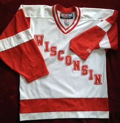 WISCONSIN BADGERS CCM HOME JERSEY ADULT MEDIUM FREE SHIPPING #CCM #WisconsinBadgers