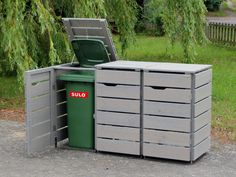 Mülltonnenbox Holz - Holzweise Garbage Containers, Bin Store, Trash Bins, Storage Bins, Storage Ideas, Planter Boxes, Planters, House And Home Magazine, House Front
