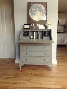 My very first Annie Sloan project - charity shop bureau - painted in French Linen with a dark wax distress.