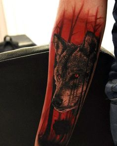 Wolf In Red Forest Guys Masculine Inner Forearm Tattoos