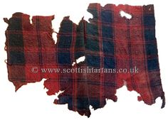 A fragment of Thomas Fraser of Struy's plaid said to have been worn at Culloden in 1746. The material is typical of 18th century tartan and was woven offset with a herringbone selvedge.