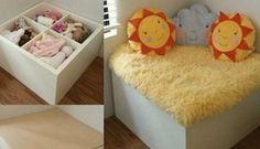 Ikea-kids toy storage and reading corner
