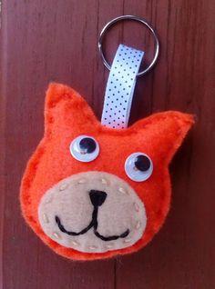 Felt Cat Keyring Felt Cat Bag Charm Cat Kitten by DaisyFelts
