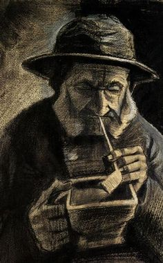 Fisherman with Sou'wester, Pipe and Coal-pan, 1883 by Vincent van Gogh. Realism…