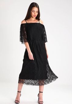 """Maxi dress - black. Lining:100% polyester. Sheer:very sheer. Outer fabric material:100% polyester. Total length:45.5 """" (Size 8). Fabric:Lace. Details:adjustable straps,undergarment. Length:calf-length. Pattern:plain. Fit:regular. Neckline:Off-the-shoulder. Our model'..."""