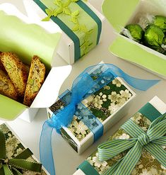 Wrap up your gifts with holiday baked goods in white boxes with bits of leftover scrapbook or wrapping paper accents, ribbons, etc.