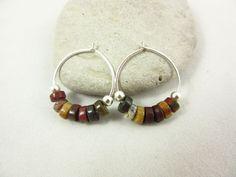 Red Creek Jasper Earrings/Hoop Earrings/Sterling Earrings/Handmade Earrings/Small Earrings/Simple Earrings/Jasper Jewelry/Rustic Jewelry by PMOriginals on Etsy