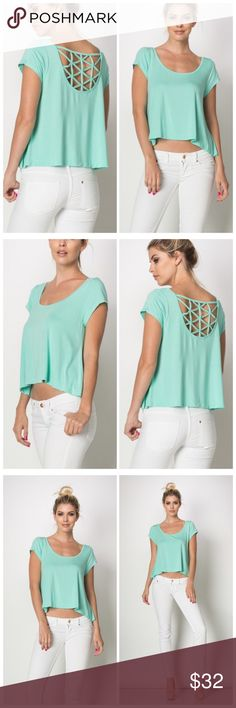 Pastel Spagetti net A line short sleeve Tunic This Spagetti net Tunic features extra soft fabric and an A Line hem. It comes in a soft yet vibrant shade of green. The perfect color and cut for this spring and summer season! Tops Tees - Short Sleeve