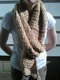 Chunky Thick Scarf Mens Unisex hand crocheted Extra LongTan Warm Comfy Men's Women's scarf or shawl $43