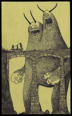 Don kenn * art: animals and creatures monster drawing, art, Illustration Arte, Gravure Illustration, Monster Illustration, Illustrations, Monster Art, Monster Drawing, Happy Monster, Don Kenn, Angst Im Dunkeln