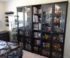 21 Various DIY Display Case Ideas to Keep your Beloved Stuff! - Home Decor Ideas Action Figure Display Case, Comic Book Storage, Comic Book Display, Comic Room, Geek Room, Lego Display, Ikea Shelves, Game Room Design, Displaying Collections