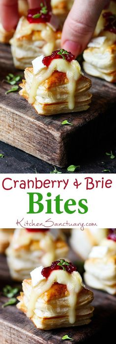 Cranberry and Brie bites - delicious yet simple to make appetizer or party snack!! Love that ingredient combo!