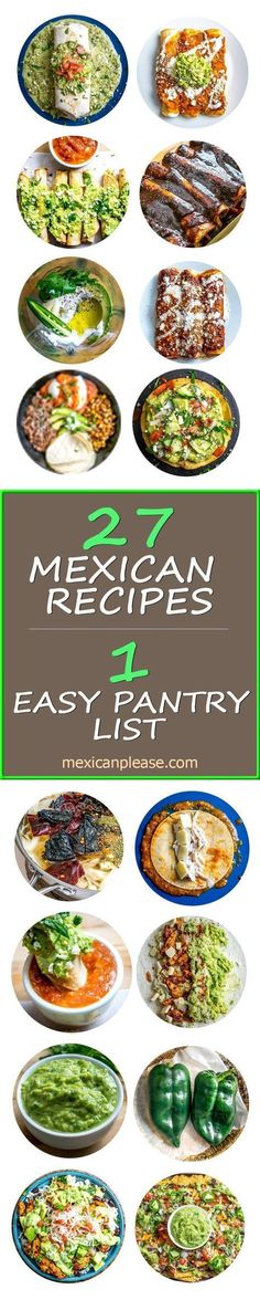27 authentic Mexican food recipes all from a simple pantry list. This free Mexican Cooking Survival Guide is the quickest and easiest way to get your home kitchen pumping out the best Mexican food in (Mexican Recipes) Best Mexican Recipes, New Recipes, Cooking Recipes, Favorite Recipes, Healthy Recipes, Vegetarian Recipes, Enchiladas, Survival Food, Survival Guide