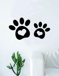 2 Dog Paw Print Hearts Decal Sticker Wall Vinyl Art Home Decor Teen Doggy Puppy Vet Adopt Wall Decal Sticker, Vinyl Wall Decals, Wall Stickers, Vinyl Art, Custom Paint Jobs, Heart Wall, Dog Paws, Beautiful Wall, Accent Pieces