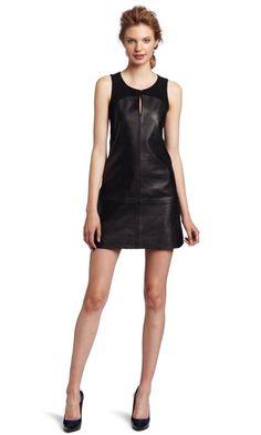 Leather dress with knit yoke
