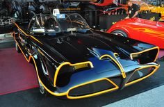 The Batmobile, Munsters Coach, and T Buggy along with a couple bicyles were all built by the Barris company Original Tv Series, Movie Cars, Batmobile, Classic Trucks, Car Show, Old Cars, Dark Side, Muscle, Batman